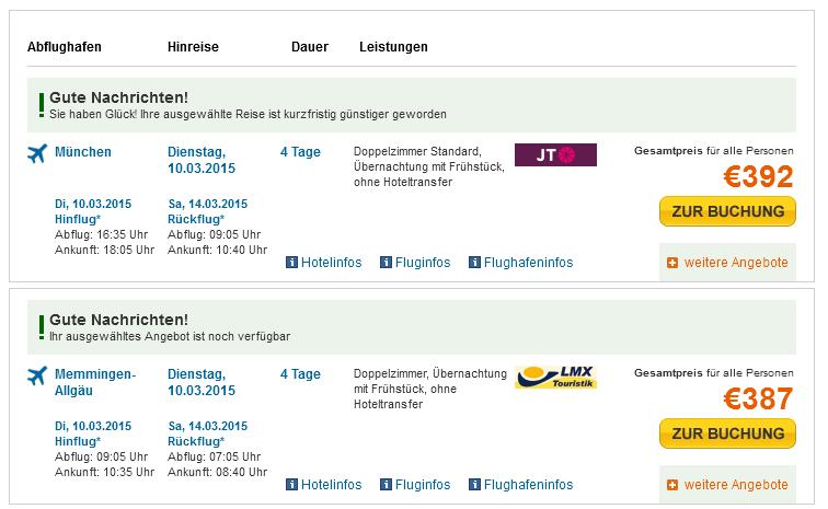 Screenshot Expedia Buchung Hotel Marc Aurelio Rom und Flug ab München und Memmingen