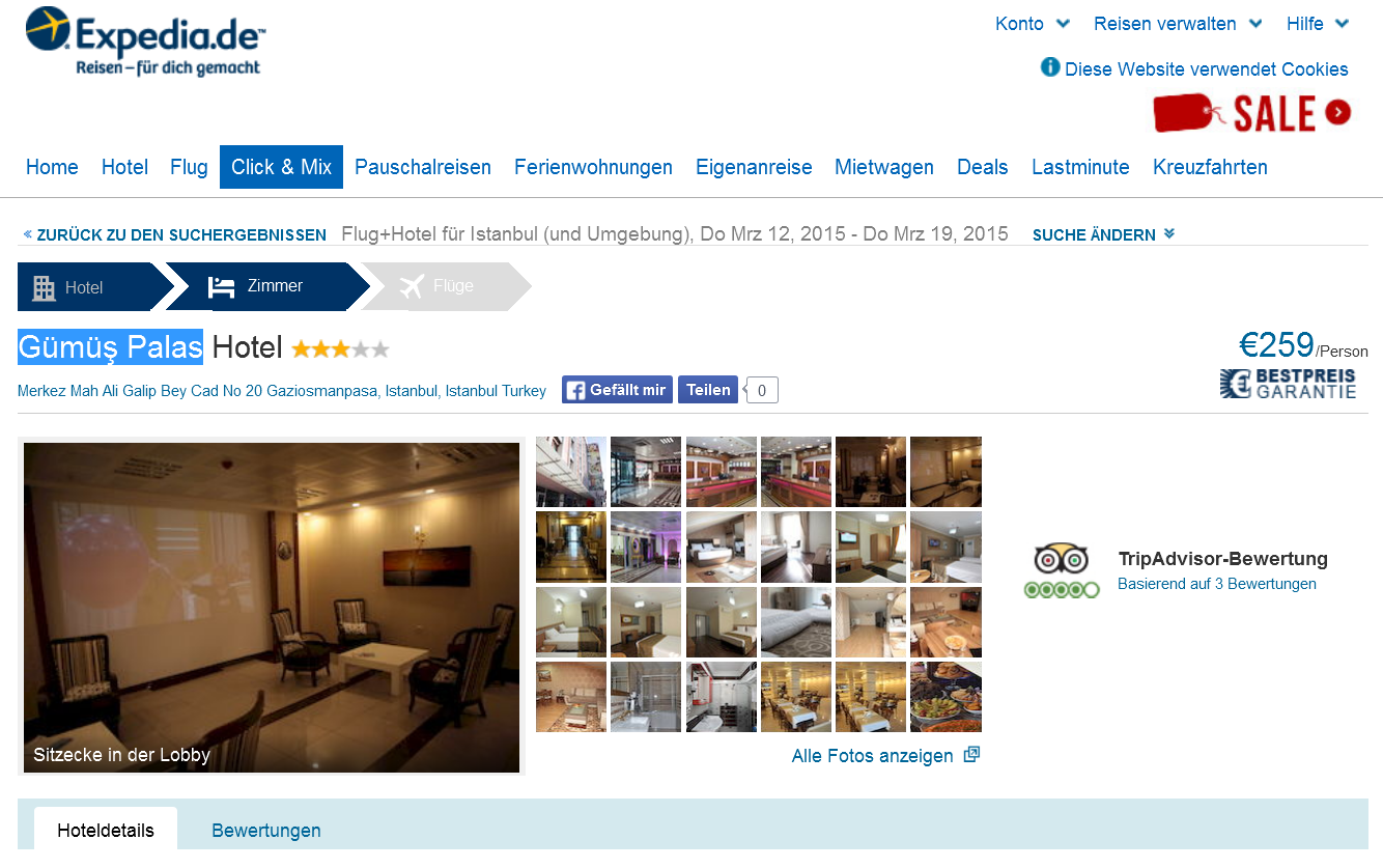 Screenshot Expedia.de Angebot Istanbul Hotel Gümüs Palas
