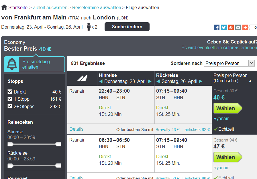 Screenshot Ryanair nach London im April um 40€