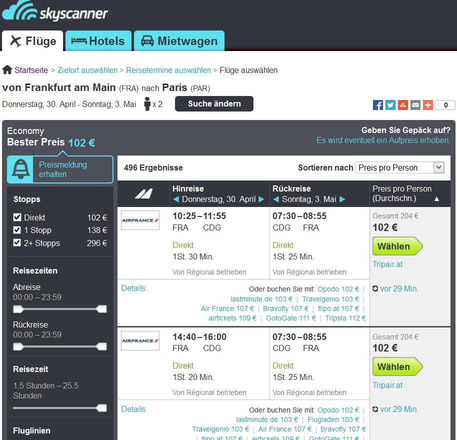 Screenshot Skyscanner Flug nach Paris ab Frankfurt