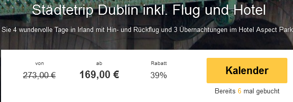 Screenshot Travelbird Urlaub in Dublin 3 Sterne Hotel Aspect Park Dublin 30.3.15