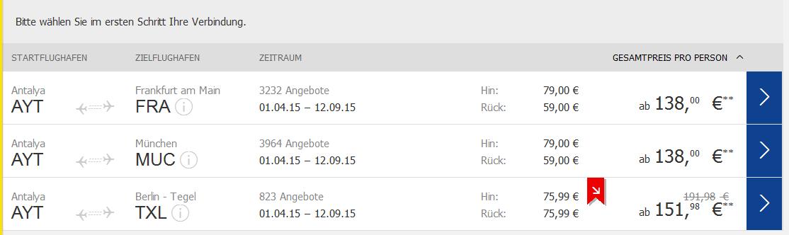 Screenshot Tuifly.com Beispiel für günstige Flüge 13.3.15