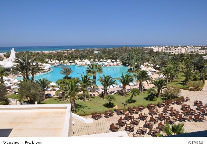 Ausblick auf den Strand und das Meer von Djerba, von einem Hotel aufgenommen