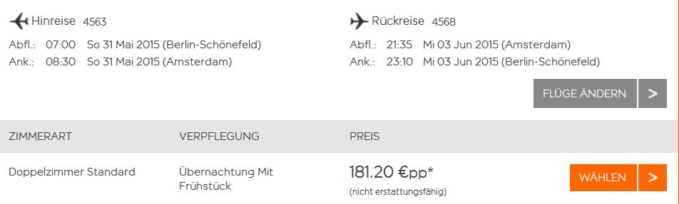 Screensho Easyjet Angebot Städtereise nach Amsterdam 4 Tage im 3 Sterne Hotel Omega inklusive Flügen und Frühstück