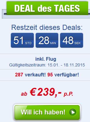 Screenshot Ab-in-den-Urlaub-Deals Angebot All-Inclusive Urlaub an der Türkischen Riviera in Alanya im gut Bewerteten 4 Sterne Hotel Titan Select (Konakli) inklusive Flügen 12.4.15