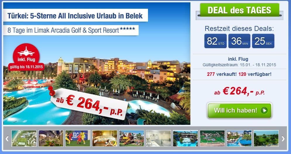 Screenshot Ab-in-den-Urlaub-Deals Belek, Türkische Riviera Urlaub im 5 Sterne Limak Arcadia Golf & Sport Resort