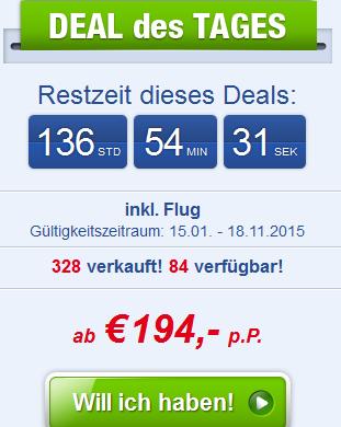 Screenshot Angebot Ab-in-den-Urlaub-Deals All-Inclusive Urlaub in Side 8 Tage im 3 Sterne Hotel Side Temple inklusive Flügen 17.4.15