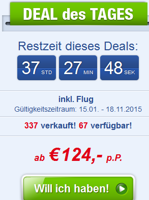 Screenshot Angebot Ab-in-den-Urlaub-Deals Türkei Urlaub in Side, inklusive Halbpension und Flügen im 3 Sterne Hotel Side Elis 22.4.15