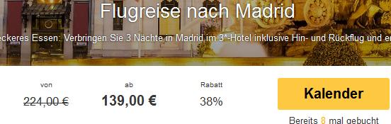Screenshot Travelbird Angebot Kurzurlaub in Madrid inklusive Hin- und Rückflug und den Übernachtungen im 3 Sterne Hotel Silken Torre Garden 23.4.15