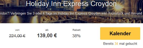 Screenshot Travelbird.de Angebot Städtereise nach London 3 oder 4 Tage im 3 Sterne Hotel Holiday Inn Express Croydon inklusive Hin- und Rückflug mit Ryan Air 8.4.15