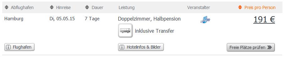 Screenshot Weg.de Angebot Urlaub in Monastir mit Halbpension, Flügen, Transfer und den Übernachtungen im 4 Sterne Hotel Daphne Center 22.4.15