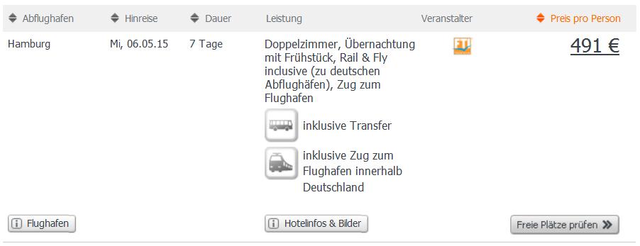 Screenshot weg.de Angebot Städtereise nach Dubai 7 Tage im 4 Sterne Hotel Holiday Inn Bur Dubai inklusive Flügen, Transfer, Zugticket zum Abflughafen innerhalb Deutschlands und Frühstück 11.4.15