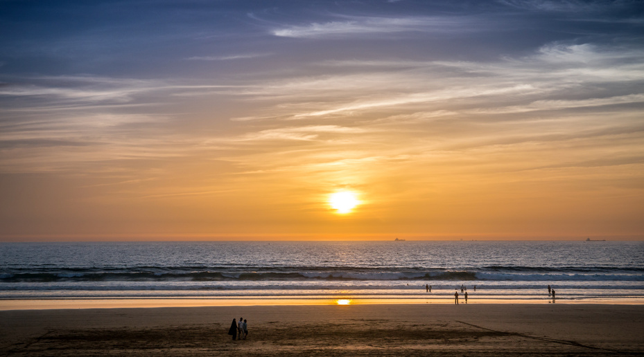 Der Strand von Agadir bei Sonnenuntergang