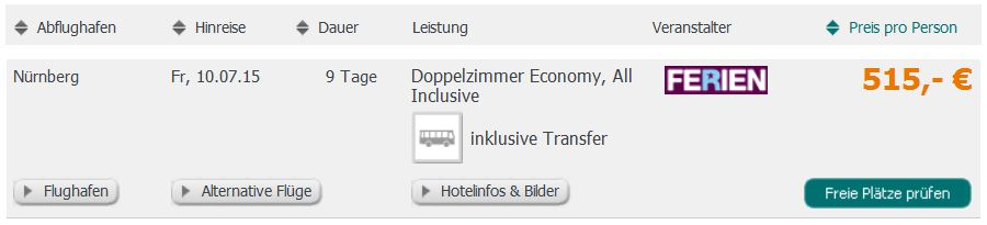 Screenshot Angebot Weg.de 9 Tage 5 Sterne All-Inclusive Urlaub in Alanya, 515€ pro Person 22.5.15