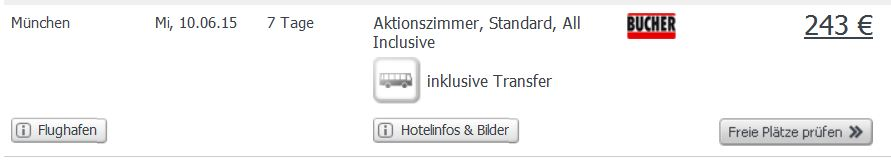 Screenshot Angebot Weg.de Bulgarische Riviera, Goldstrand, 7 Tage All-Inclusive im 4 Sterne Hotel mit Transfer und Flügen um nur 243€ pro Person 21.5.15