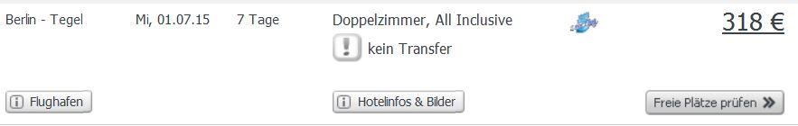 Screenshot Angebot Weg.de Eine Woche All-Inclusive Urlaub auf Kreta, Flüge + Übernachtungen, exkl. Transfer. 17.5.15