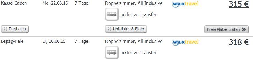Screenshot Angebot Weg.de Kreta, eine Woche All-Inclusive Urlaub. 3 Sterne Hotel Pela Maria 315€ 23.5.15
