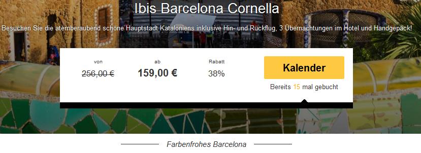 Screenshot Travelbird Angebot Viertägige Städtereise nach Barcelona, Übernachtungen im 2 Sterne Hotel Ibis Barcelona Cornella, Hin- und Rückflügen 2.5.15