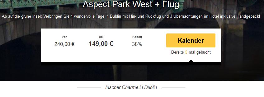 Screenshot Travelbird Angebot Viertägige Städtereise nach Dublin, im 3 Sterne Hotel Aspect Park West inklusive Hin- und Rückflug 4.5.15