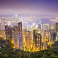Skyline von Hongkong, aufgenommen in der Nacht vom Victoira Peak