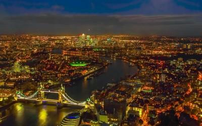 Panoramabild der Stadt mit den Sehenswürdigkeiten Londons